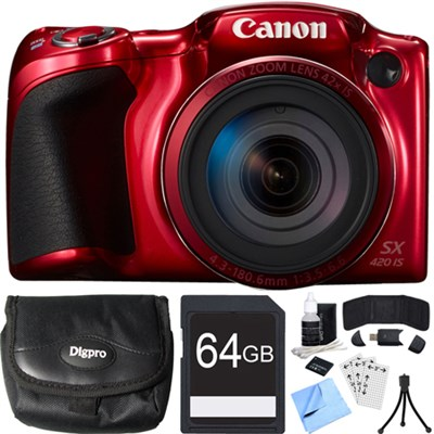 PowerShot SX420 IS 20MP Red Digital Camera + 42x Optical Zoom 64GB Card Bundle