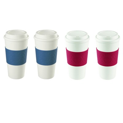 16-Ounce Capacity Acadia Reusable To Go Mug - Blue 2 Pack/Cherry Red 2 Pack