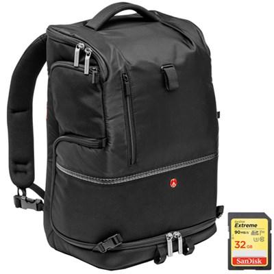 Advanced Tri DSLR Camera Backpack Large (Black) & Sandisk 32GB Memory Card