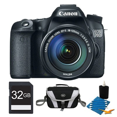 EOS 70D Digital SLR Camera and EF-S 18-135mm STM Lens 32GB Bundle