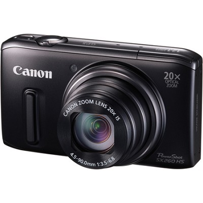 PowerShot SX260 HS Black Digital Camera 20x Optical Zoom 1080p Video