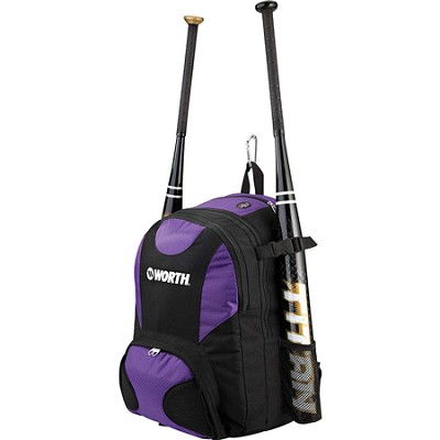 Baseball/Softball Equipment and Bat Backpack Bag, Purple