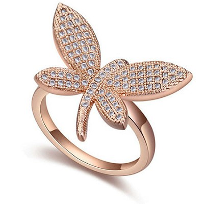 Cubic Zirconia,18k Plated Gold Butterfly Ring