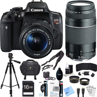 EOS Rebel T6i Digital SLR Camera Kit with EF-S 18-55mm and 75-300mm Lens Bundle