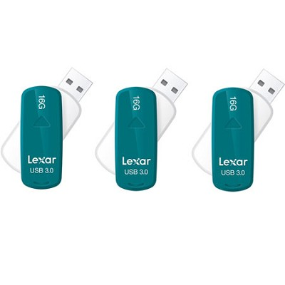 16 GB JumpDrive S33 USB 3.0 Flash Drive (Teal) 3-Pack (48GB Total)
