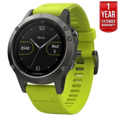 Fenix 5 Multisport GPS Watch Slate Gray w/Yellow Band + 1 Year Extended Warranty