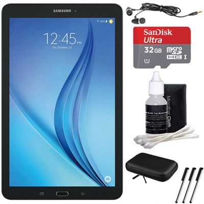 Galaxy Tab E 9.6` 16GB Tablet PC (Wi-Fi) - Black 32GB microSD Card Bundle