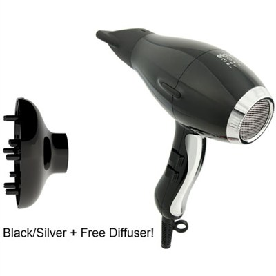 Hair Dryer Healthy Ionic 3900 - Black & Silver W/ Free diffuser