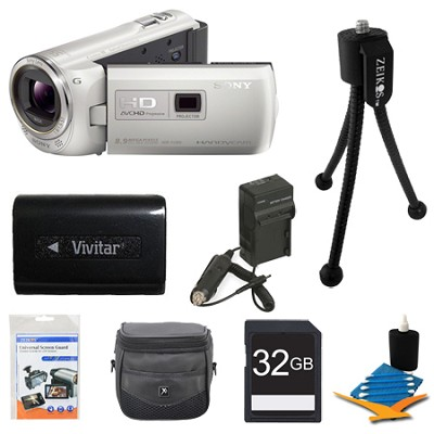 HDR-PJ380/W 16GB Full HD Camcorder with Projector (White) Ultimate Bundle
