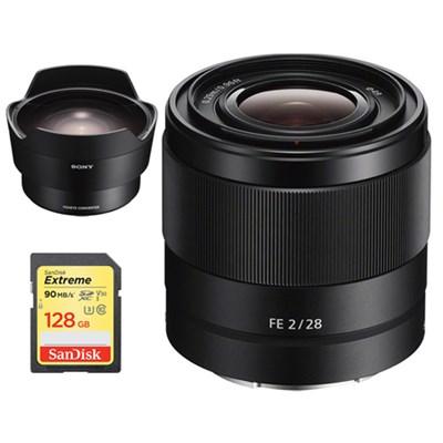 FE 28mm F2 E-mount Full Frame Prime Lens + Sony Fisheye Converter Bundle