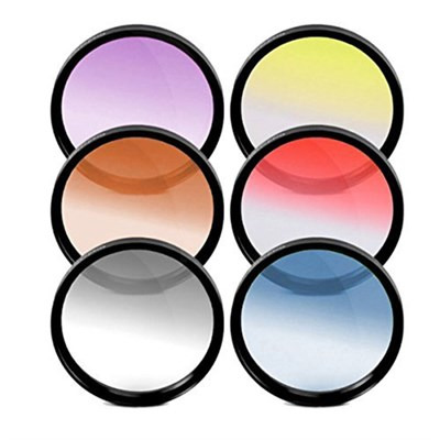 55mm Graduated Color Multicoated 6 Piece Filter Set with Fold Up Pouch