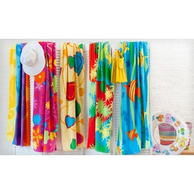 6-Pack Tropicale Velour Beach Towel Assorted Prints