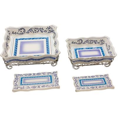 6 Piece Hand-Painted Stoneware Serveware Set