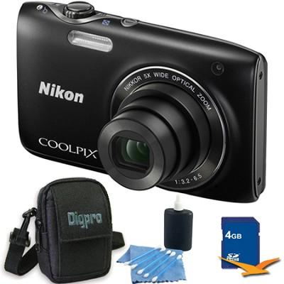 COOLPIX S3100 14MP Black Compact Digital Camera 4GB Bundle