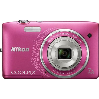 COOLPIX S3500 20.1MP 2.7` LCD Decorative Pink Digital Camera with 720p HD Video