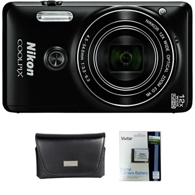 COOLPIX S6900 16MP 1080p Wi-Fi Camera w/ 12X Zoom & Flip out screen + Bundle