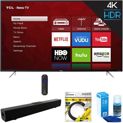 65` 4K 120Hz Ultra HD Dual Band Roku Smart LED TV Black + Soundbar Bundles