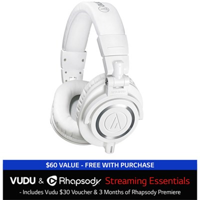 ATH-M50X Professional Headphones + $30 VUDU Credit + 3 Months of Rhapsody White