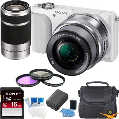 NEX-3NL Digital Camera  w 16-50, 55-210 Lens Essentials Bundle (White)