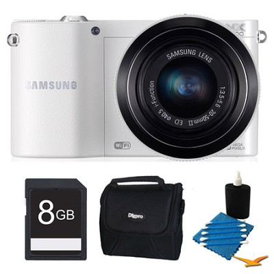 NX1100 20.3MP White Smart Digital Camera with 20-50mm Lens 8GB Bundle