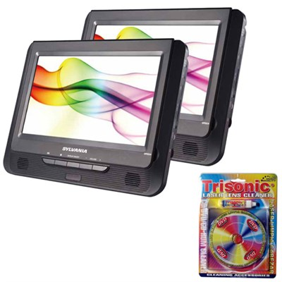 9` Twin Dual Screen DVD Player - SDVD9805 w/ Trisonic Laser Lens Cleaning Bundle