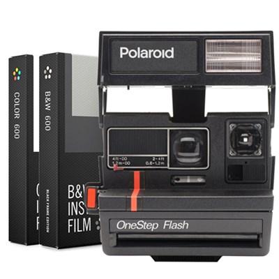 Polaroid 600 Instant Film Square Camera, Flash (Red Stripe) w/ Dual Film Bundle