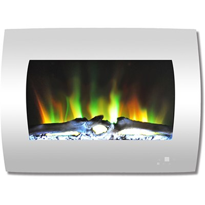 26  Color Changing Wall Mount Fireplace with Logs White