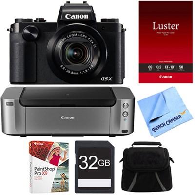 PowerShot G5 X Digital Camera w/4.2x Optical Zoom - PIXMA PRO-100 Printer Bundle