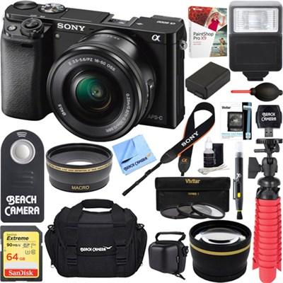 Alpha a6000 24.3MP Mirrorless Camera 16-50mm Power Zoom Lens 64GB Accessory Kit
