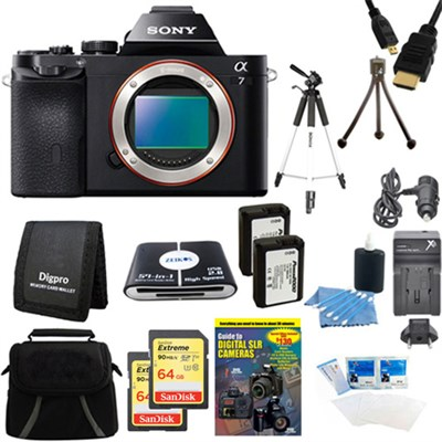 Alpha 7 a7 Digital Camera and 2 64 GB SDXC Cards and 2 Batteries Bundle