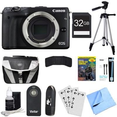 EOS M3 24.2MP Black Mirrorless Digital Camera Body 32GB Bundle