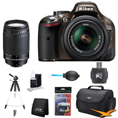 D5200 DX-Format Bronze Digital SLR Camera with 18-55mm VR and 70-300mm Lens Kit