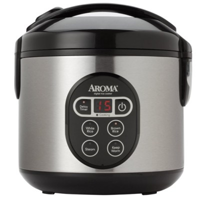 8-Cup (Cooked) Digital Rice Cooker and Food Steamer, Stainless Steel