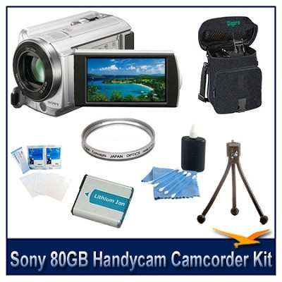 DCR-SR68 80GB Handycam Camcorder (Silver) with Spare Battery, Case and More