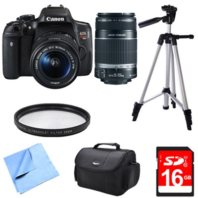 EOS Rebel T6i Digital SLR Camera w/ 18-55mm and 55-250mm Telephoto Lens Bundle