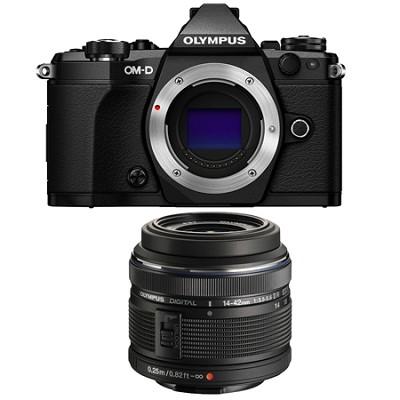 OM-D E-M5 Mark II Micro Four Thirds Black Digital Camera 14-42mm Lens Bundle