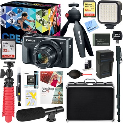 PowerShot G7 X Mark II Digital Camera Video Creator Kit + Ultimate Accessory Kit