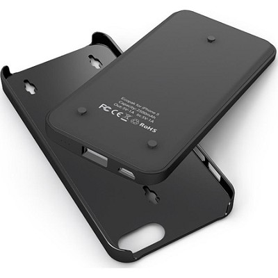 Ecopak iPhone 5 Case -Snap-on Case and Detachable Battery (Black/Black)
