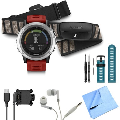 fenix 3 Multisport Training GPS Watch with Heart Rate Monitor Blue Band Bundle