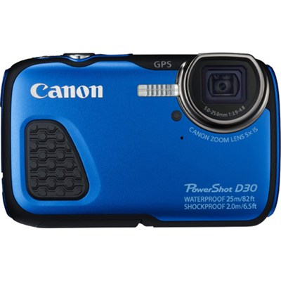 PowerShot D30 Waterproof Shockproof Freezeproof Digital Camera - Blue - OPEN BOX