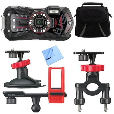WG-30 16 MP Waterproof Digital Camera with 3-Inch LCD Ebony Black Action Bundle
