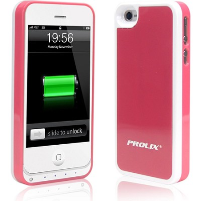 Power iPhone 4/4S Protective External Battery Case - Pink/White