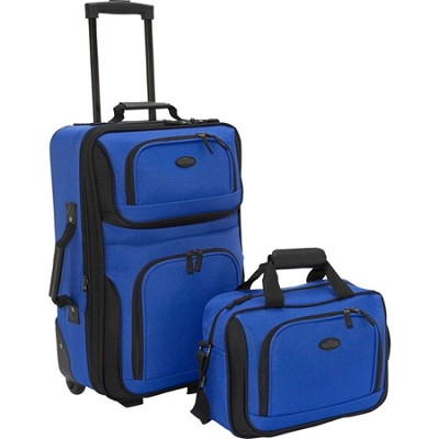 U.S. Traveler RIO 2-Piece Expandable Carry-On Luggage Set in Blue