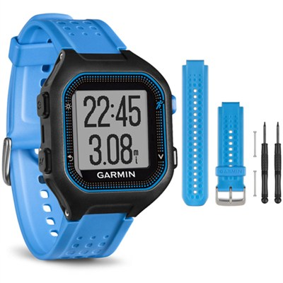 Forerunner 25 GPS Fitness Watch - Large - Black/Blue - Blue Band Bundle