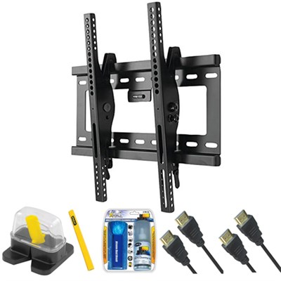 DIY Basics Large Size Tilt TV Mount & Set Up Kit for 37`-70` TVs up to 90LB
