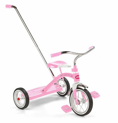 34TP Girls Classic Pink 10` Tricycle w/Push Handle