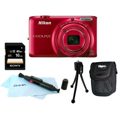 COOLPIX S6500 16MP Digital Camera w/ 12x Zoom & Built-In Wi-Fi Red 5 PIECE SET