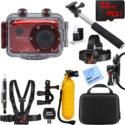HD Action Waterproof Camera / Camcorder Red 32GB Outdoor Mount Kit