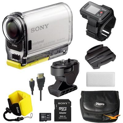 HDR-AS100VR/W HD POV Action Cam + Live View Remote Mount Bundle