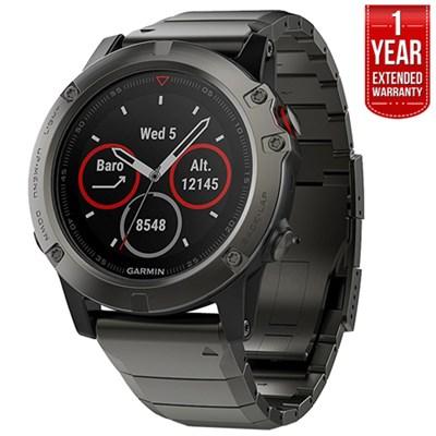 Fenix 5 Sapphire Multisport GPS Watch Gray w/Metal Band +1Year Extended Warranty